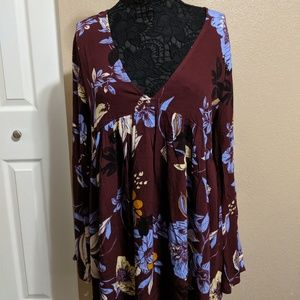 Maroon Floral Tunic - Free People, L
